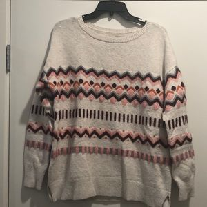 Loft sweater with fun pattern and detailing.